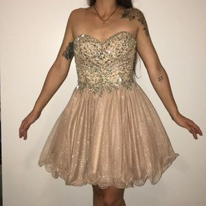 Beautiful champagne crystal short prom dress